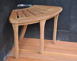 Small teak corner shower bench