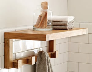 Teak bathroom shelves