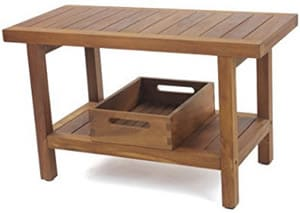 Wooden shower bench